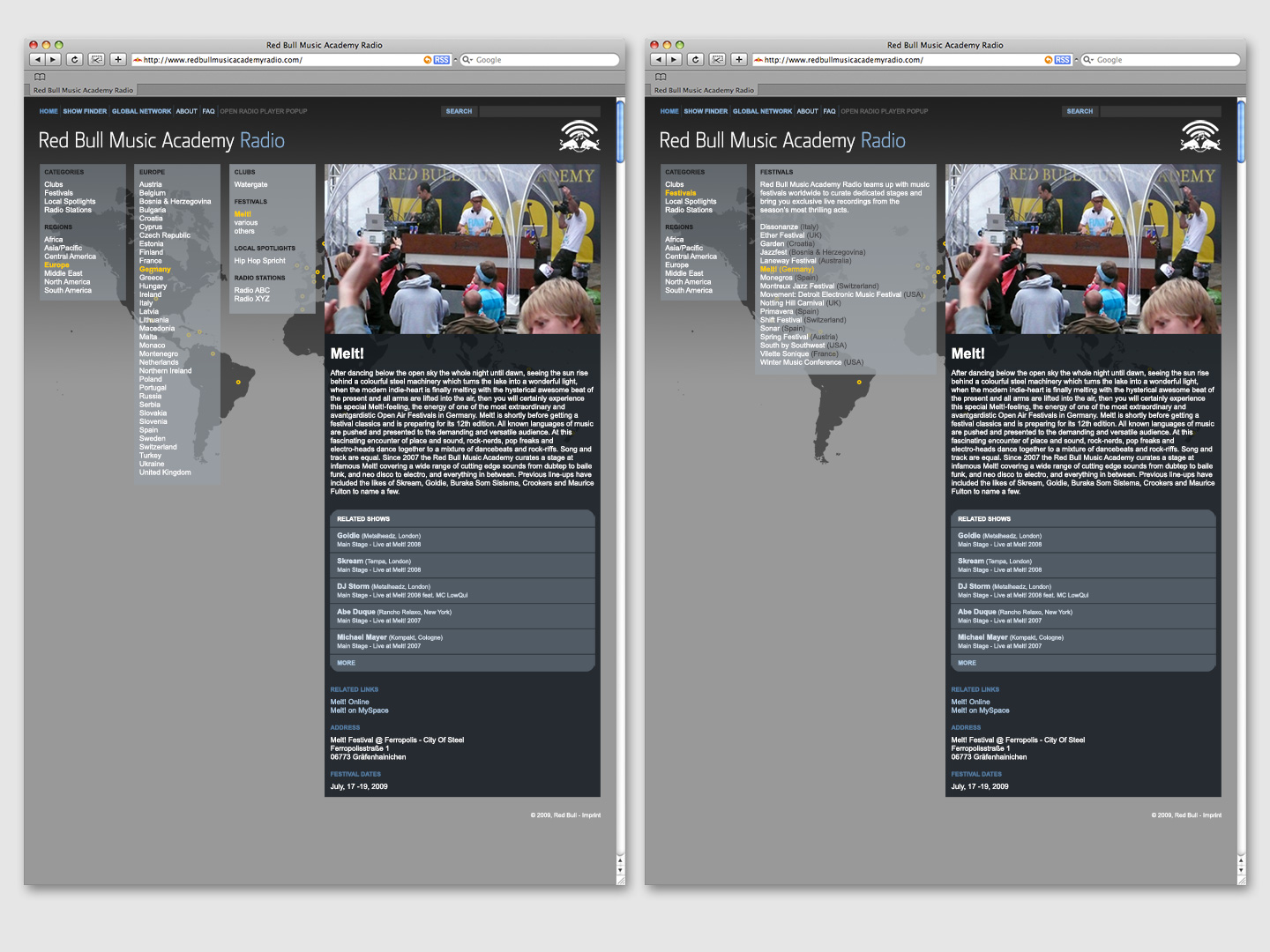 RBMA Radio 2009 · Mockups (Global Network · Navigation)